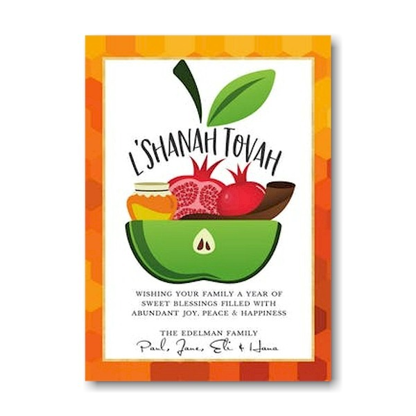 Apple Bowl Blessings Jewish New Year Card Icon