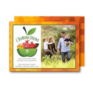 Apple Bowl Blessings Photo Jewish New Year Card