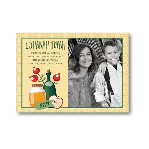 Blessings Banner Jewish New Year Card Icon