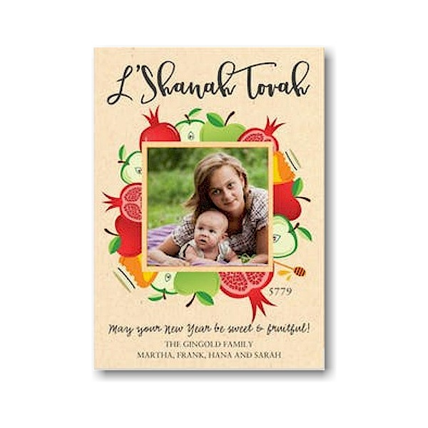 Bountiful Blessing Square Jewish New Year Card Icon