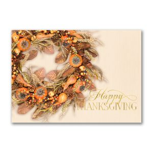Colors of Autumn Wreath Thanksgiving Card