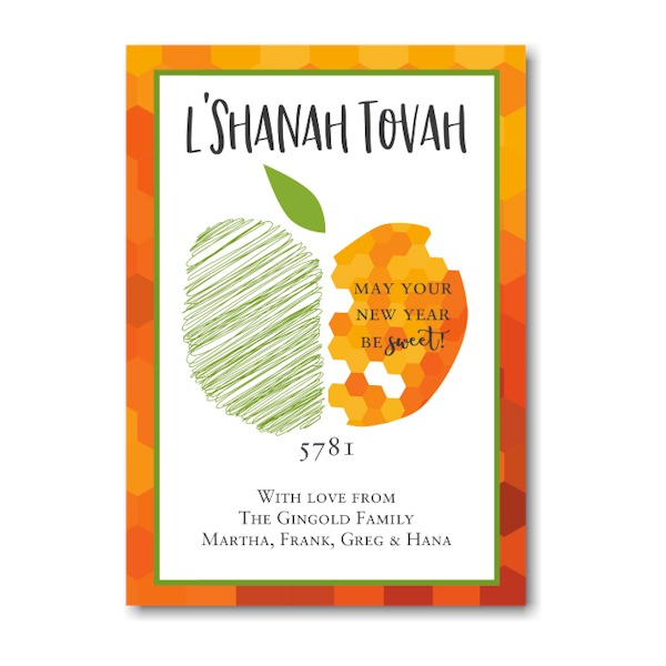 Honeycomb Apple Jewish New Year Card Icon