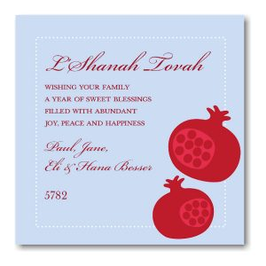 Pomegranate Blue with Red Rosh Hashanah Card Icon