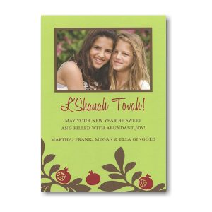 Pomegranate on Green Photo Jewish New Year Card Icon