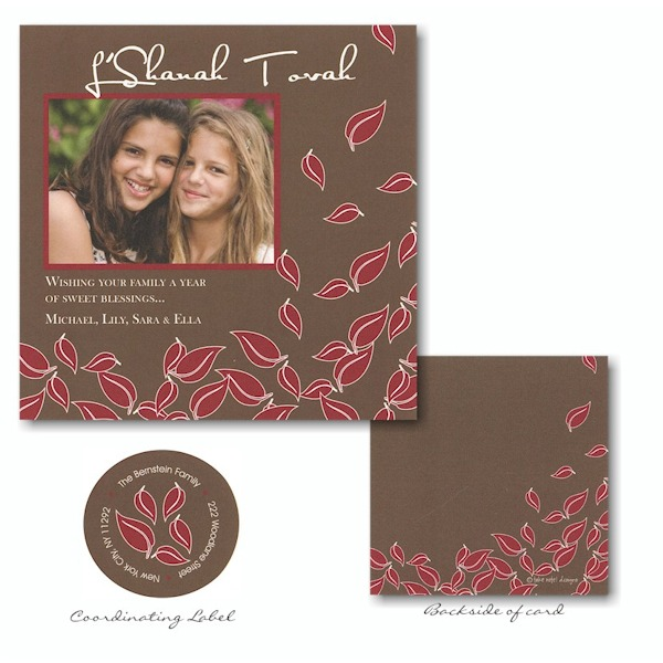Red Leaves on Brown Jewish New Year Card