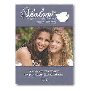 Shalom Dove on Blue Photo Jewish New Year Card Icon