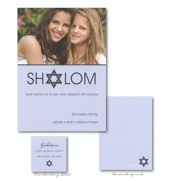 Shalom in Blue Photo Jewish New Year Card