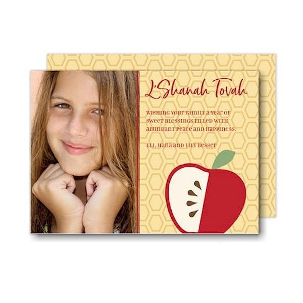 Simple Apple Honeycomb Jewish New Year Card