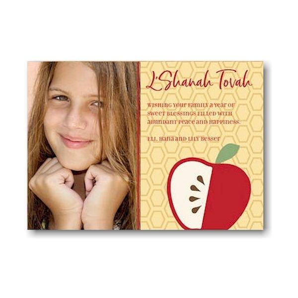 Simple Apple Honeycomb Jewish New Year Card Icon