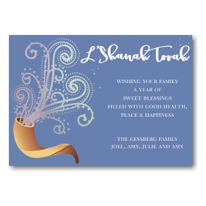 Sounding Shofar Foil Jewish New Year Card Icon