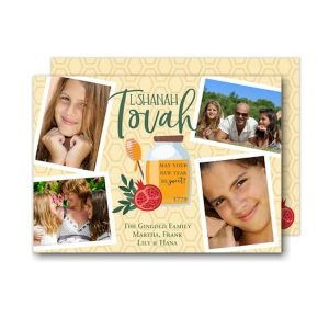 Sweet Blessing Photo Collage Jewish New Year Card
