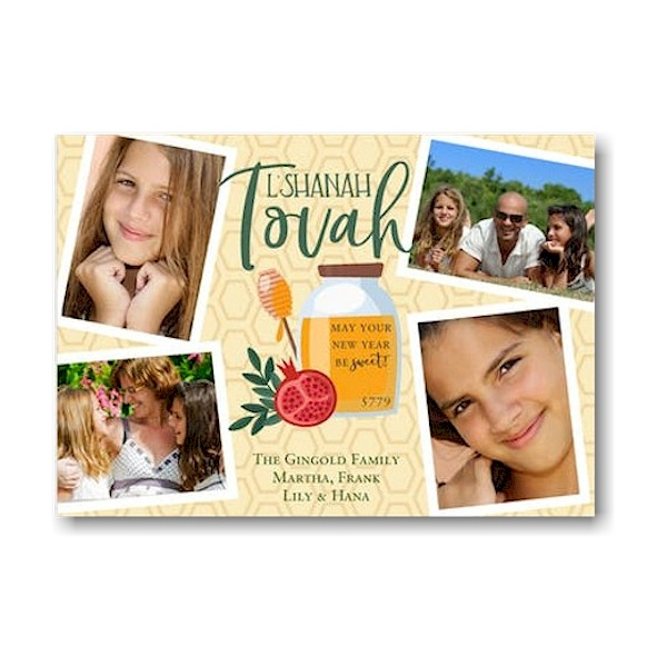 Sweet Blessing Photo Collage Jewish New Year Card Icon