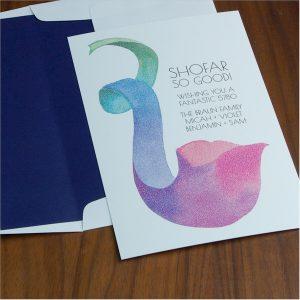 Colorful Shofar Jewish New Year Card