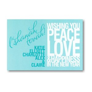 Peace Love Happiness Jewish New Year Card Icon