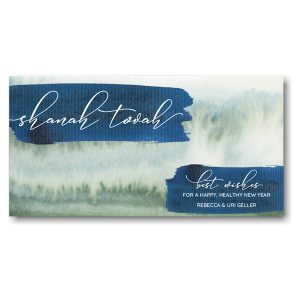 Watercolor Brushes Jewish New Year Card Icon
