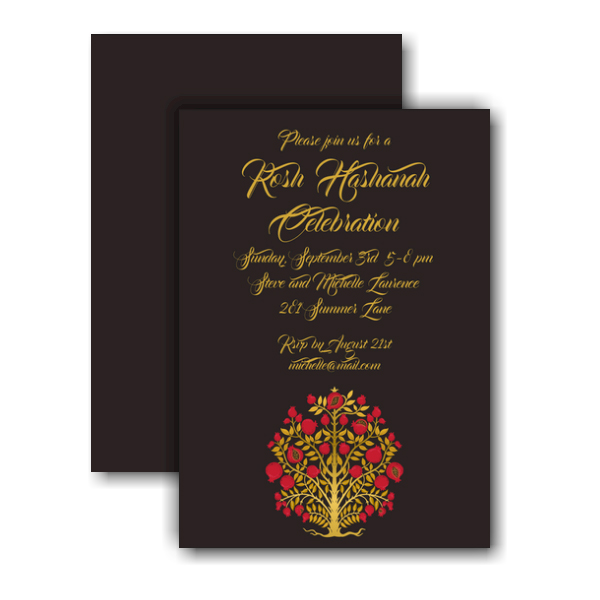Red and Gold Tree of Life Invitation