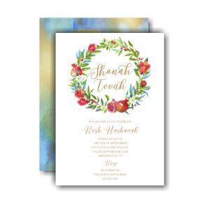 Watercolor Pomegranate Wreath Invitation Icon